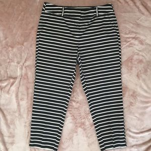 Loft striped Julie cropped pants black nautical 12